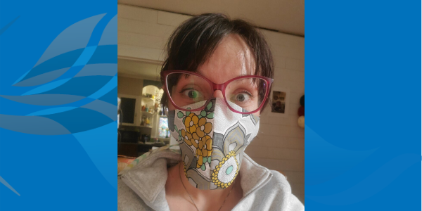 Megan Nagley, PharmD wearing a reusable cotton mask