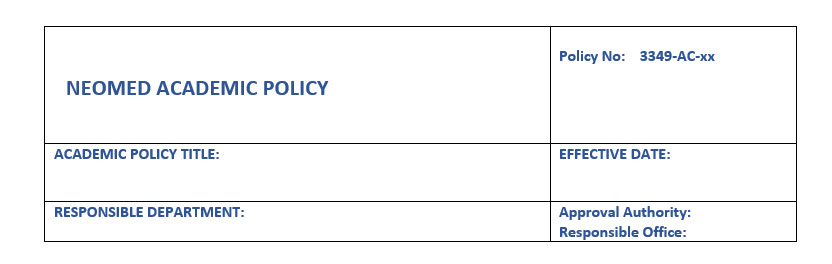 Academic policy header example