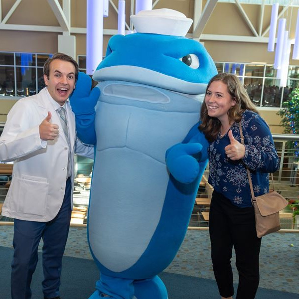 Nate, the Walking Whale, with NEOMED students