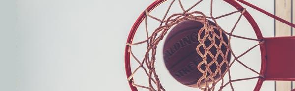 Basketball and basketball hoop