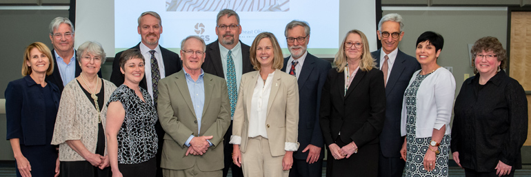 Participants in the announcement of Peg's Foundation grant to NEOMED