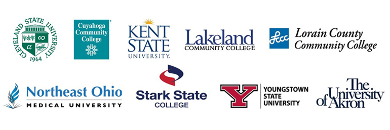 Logos of nine public colleges and universities in Northeast Ohio