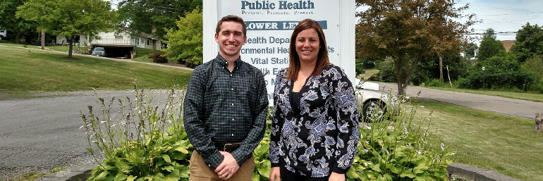Thomas Weiner and Leann Cline, former Carroll County health commissioner