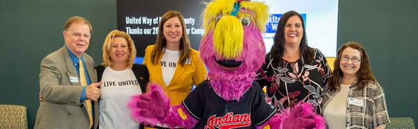 Cleveland Indians mascot, Slider, and United Way staff