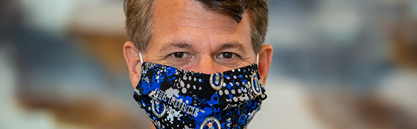 President Langell wearing a face covering