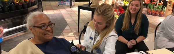 Student checking vitals