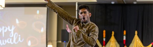 NEOMED student dancing at Diwali