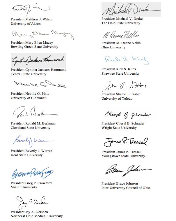 Signatures of Ohio public university presidents