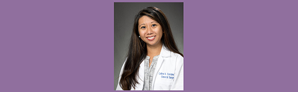 Celine Soriano, M.D., wearing white coat