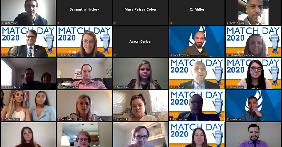 a screenshot of a zoom meeting featuring the class of 2020 residency placement students