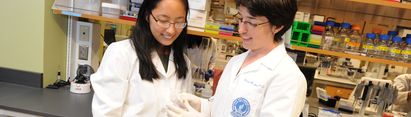 Denise Inman working with a student in her lab